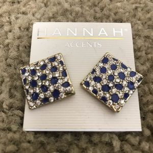Hannah Accents Blue and White Square Earrings